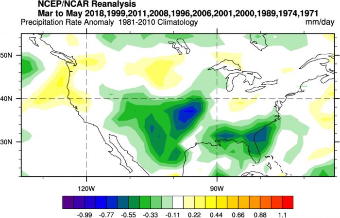 ENSO-thunderstorm-hailstorm-tornado-influence-la-nina-el-nino-united-states-spring-season-precipitation-forecast