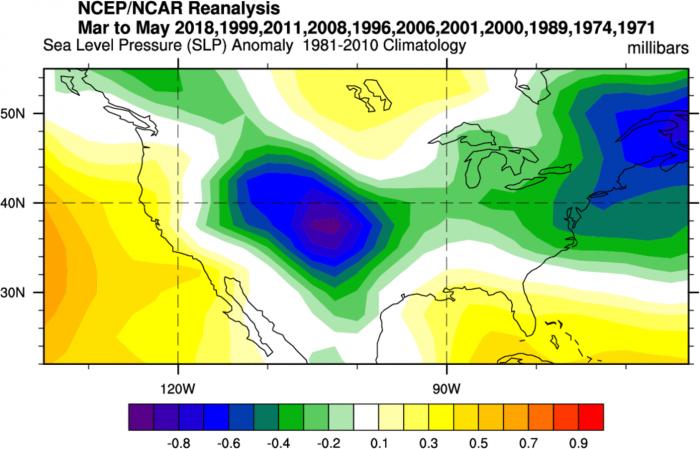 ENSO-thunderstorm-hailstorm-tornado-influence-la-nina-el-nino-united-states-spring-season-pressure-forecast