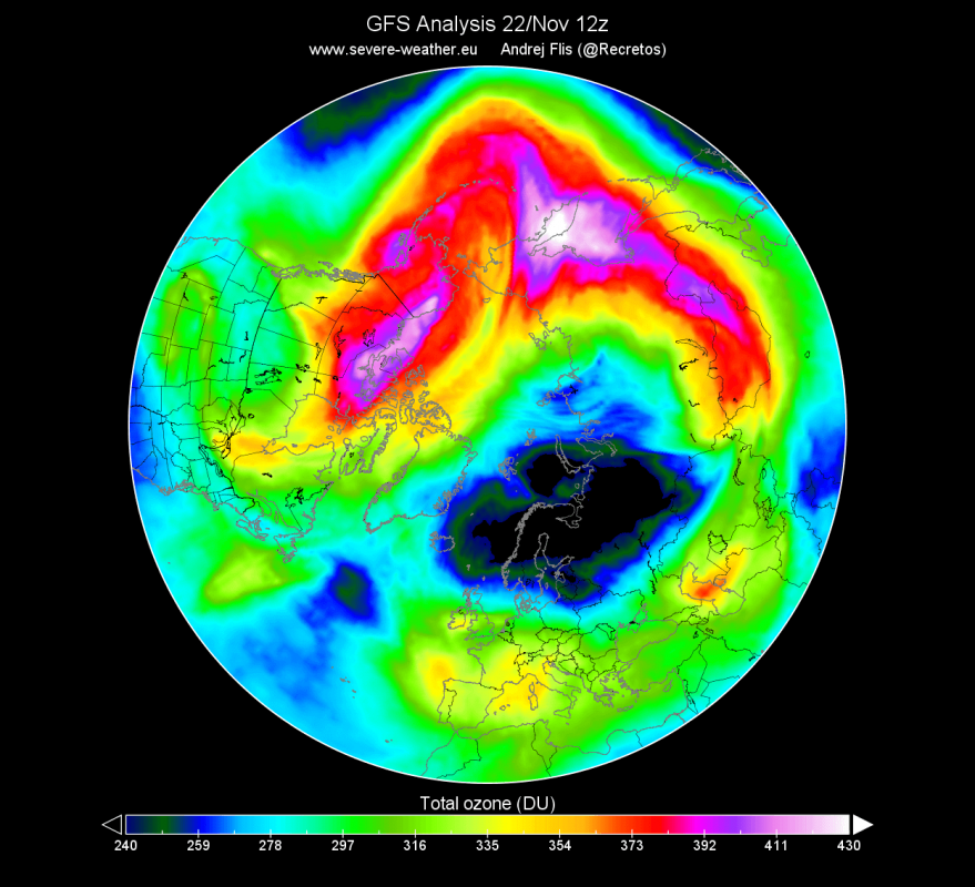 Total_ozone_entire_atmospher_in_GFS_Global_onedeg_20191122_1200-1