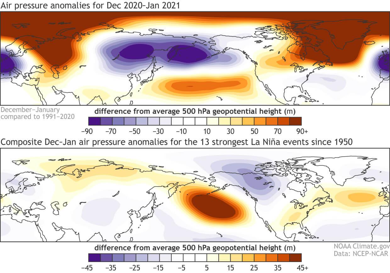 la-nina-enso-witner-2020-2021-pressure-anomaly-historical-comparison