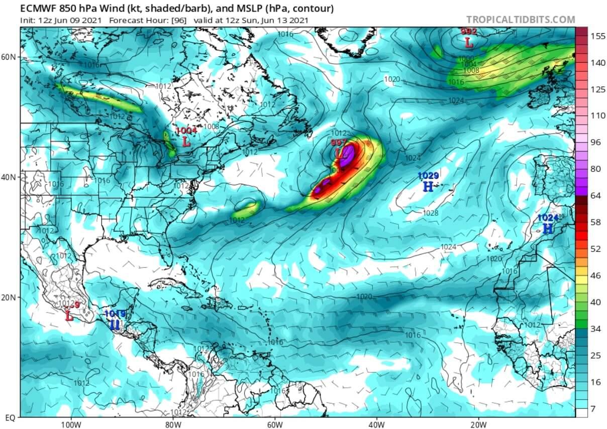 saharan-air-layer-dust-cloud-event-2021-atmospheric-pressure-and-winds-forecast-june-13-north-atlantic