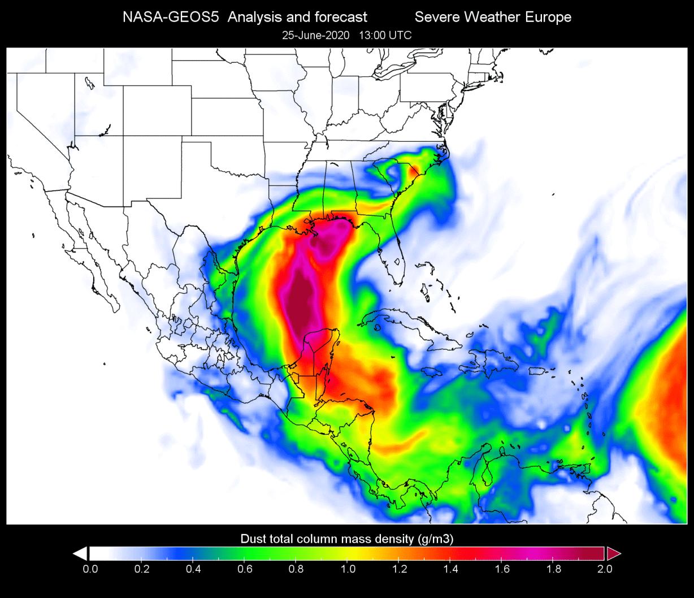 saharan-air-layer-event-2020-visible-satellite-north-atlantic-dust-cloud-forecast-nasa-geos