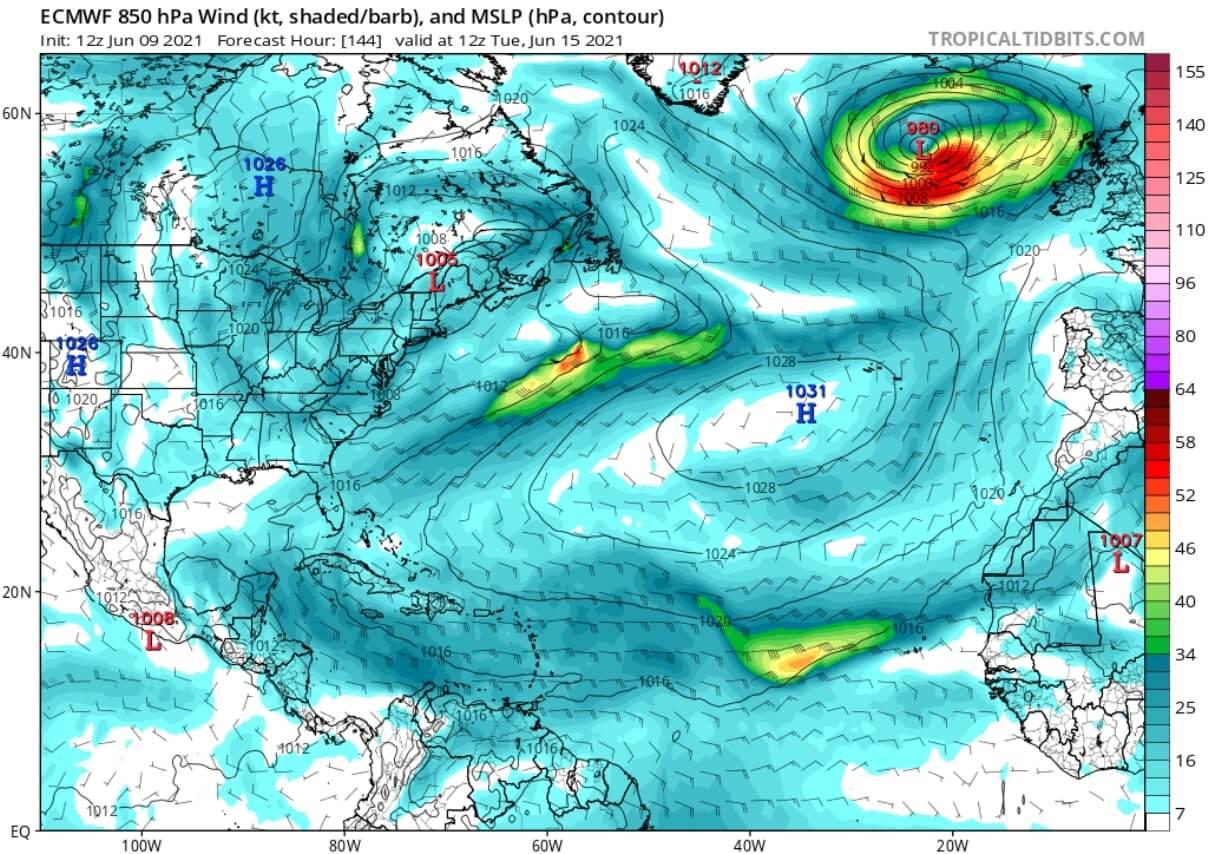 saharan-dust-cloud-event-2021-atmospheric-pressure-and-winds-forecast-june-15-north-atlantic