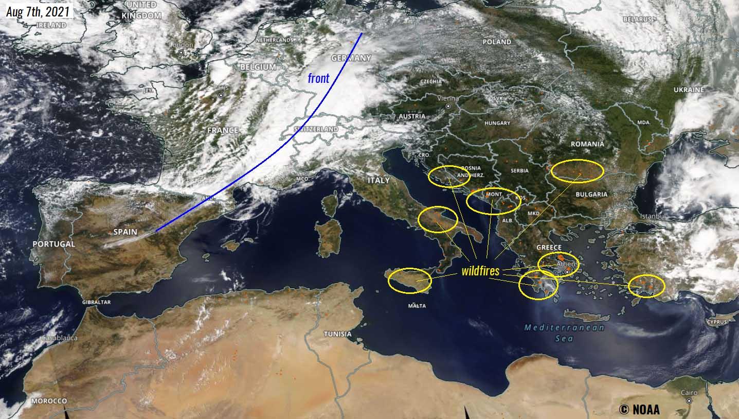 heat-dome-mediterranean-extreme-heatwave-italy-spain-satellite-wildfires