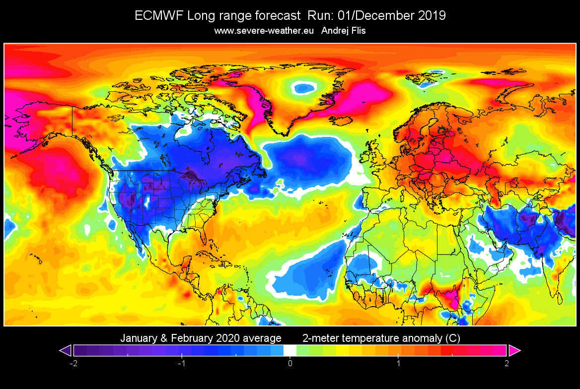 January February 2020 Forecast Year 2019 Will End On A Dynamical Note But On The Long Range January And February 2020 Are Trending Milder In Europe While Cold Is Lurking For The United States
