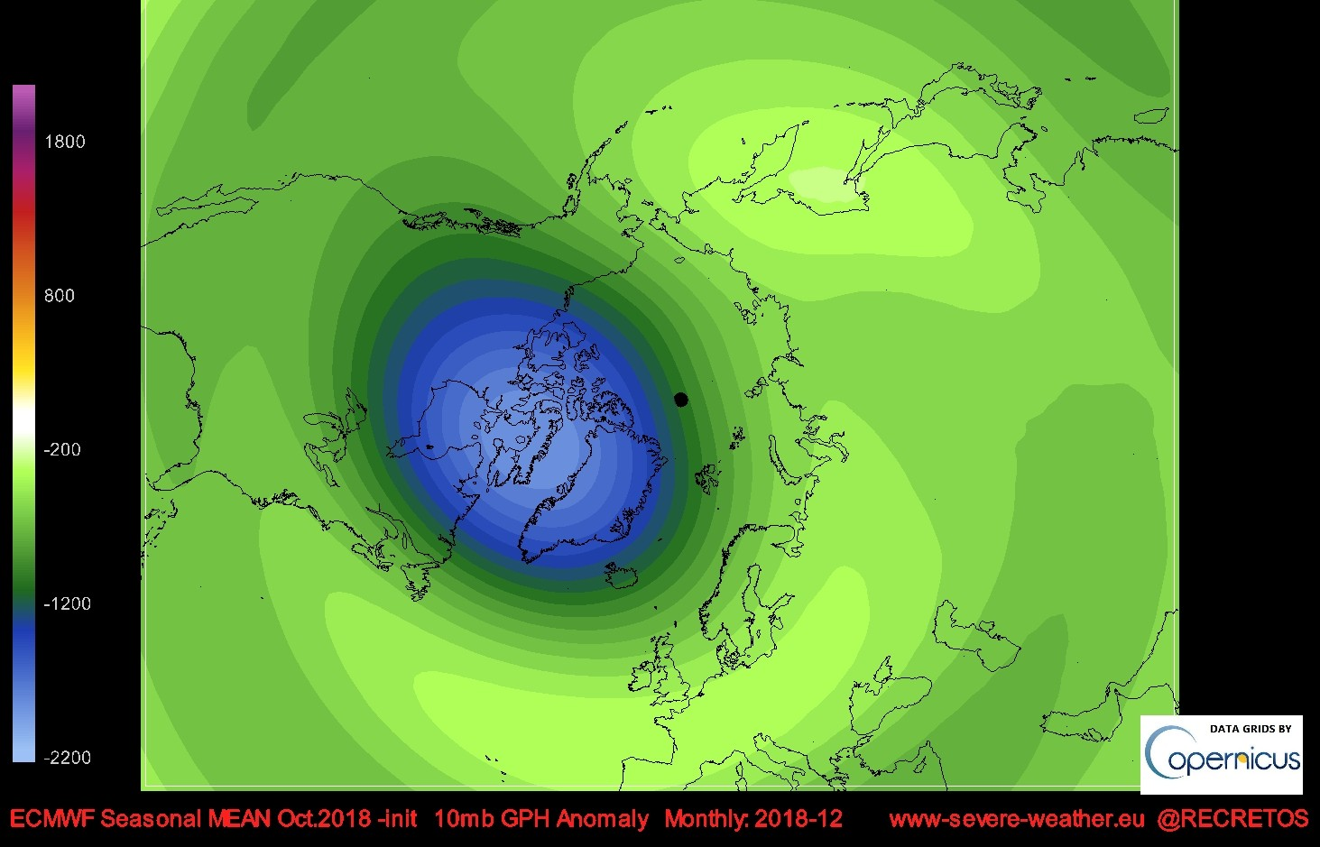 10Mb ecmwf seasonal 10mb geopotential height anomaly forecast