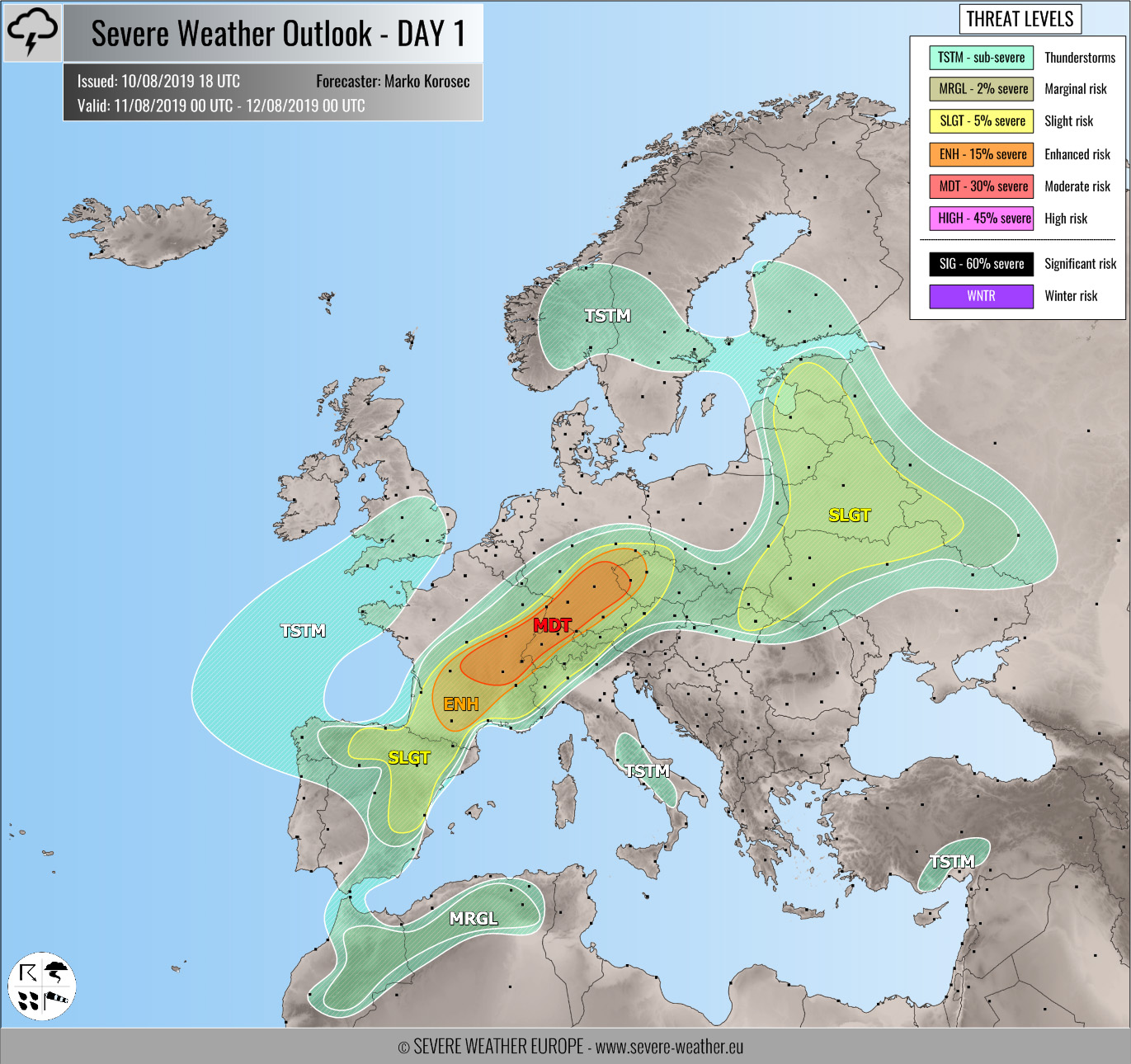 Outlook DAY 1 (valid: 11/08/2019) – Severe Weather Europe