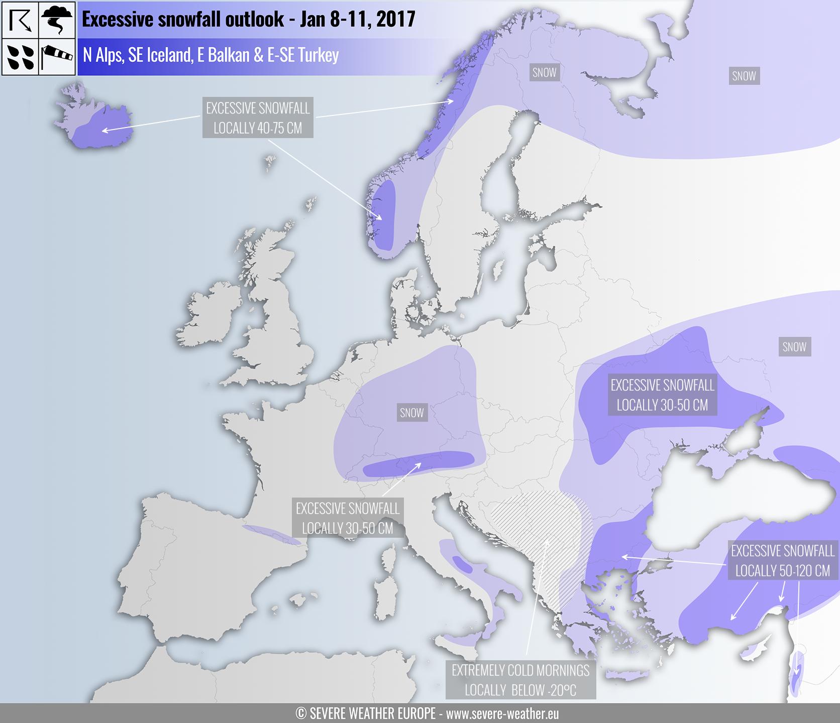 Snow Map Europe.Excessive Snowfall Outlook Across Europe Jan 8 11 2017 Severe