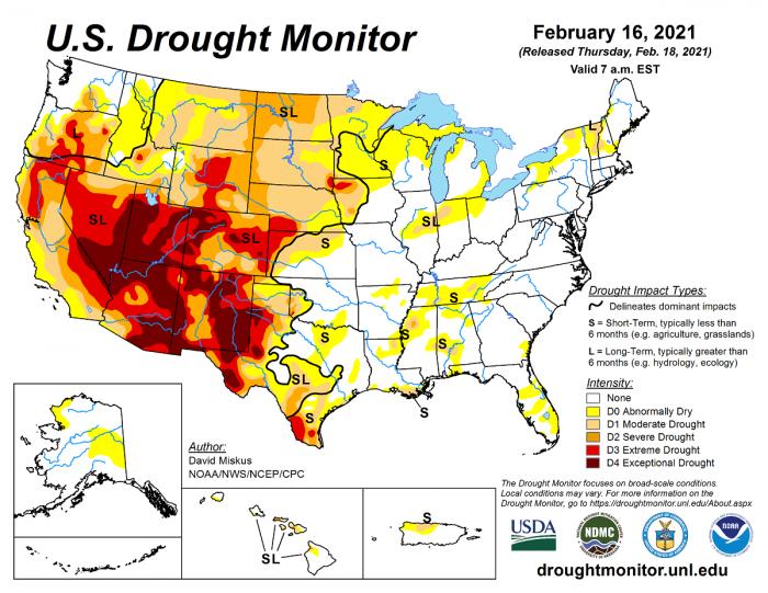 tornado-season-2021-la-nina-united-states-drought-monitor
