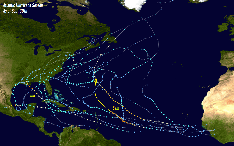 atlantic-hurricane-season-2021-most-powerful-storm-sam-bermuda-europe-tracks