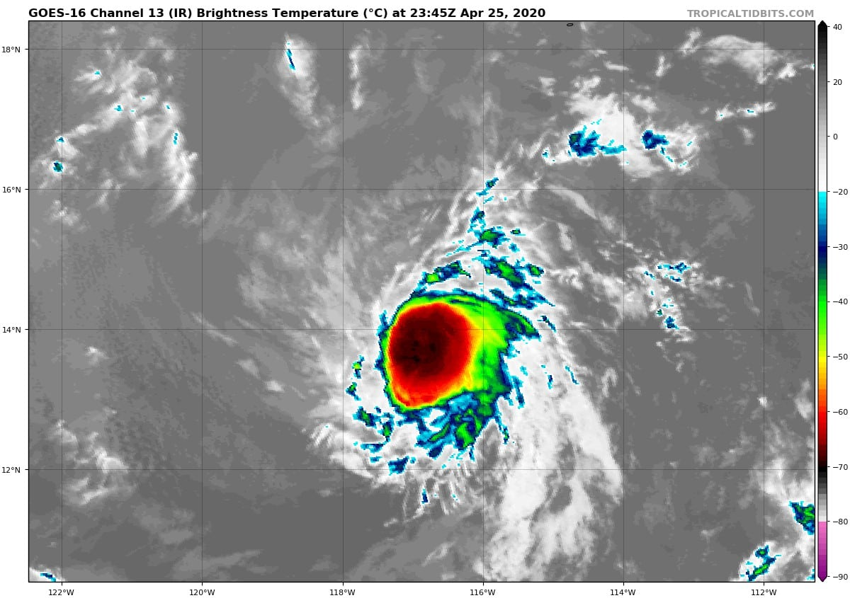 Infrared satellite image of tropical depression One