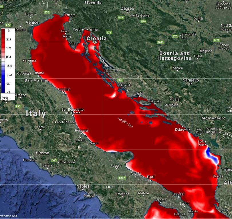 Adriatic Sea Temperature Peaking: 28-30 °C
