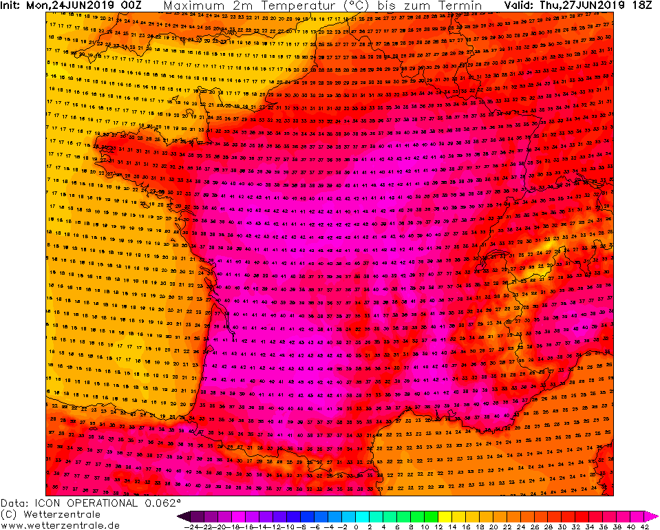 EXTREME HEAT WAVE* over parts of Spain, France, Germany and Italy