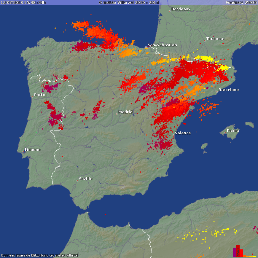 Lightning Flashes Over Spain In The Second Half Of July 11 And First Half Of July 12 Map Blitzortung Org
