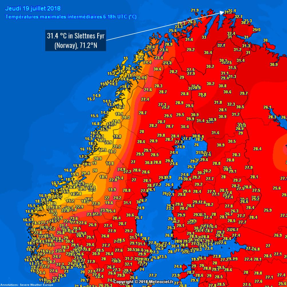record breaking heat across n norway and kola peninsula, july 19th