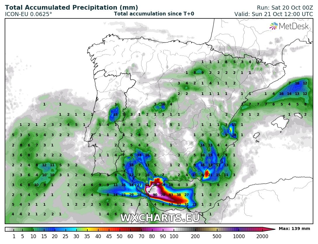 Map 24 Spain.Torrential Rainfall Over Parts Of Southern Spain In The Next 24 36