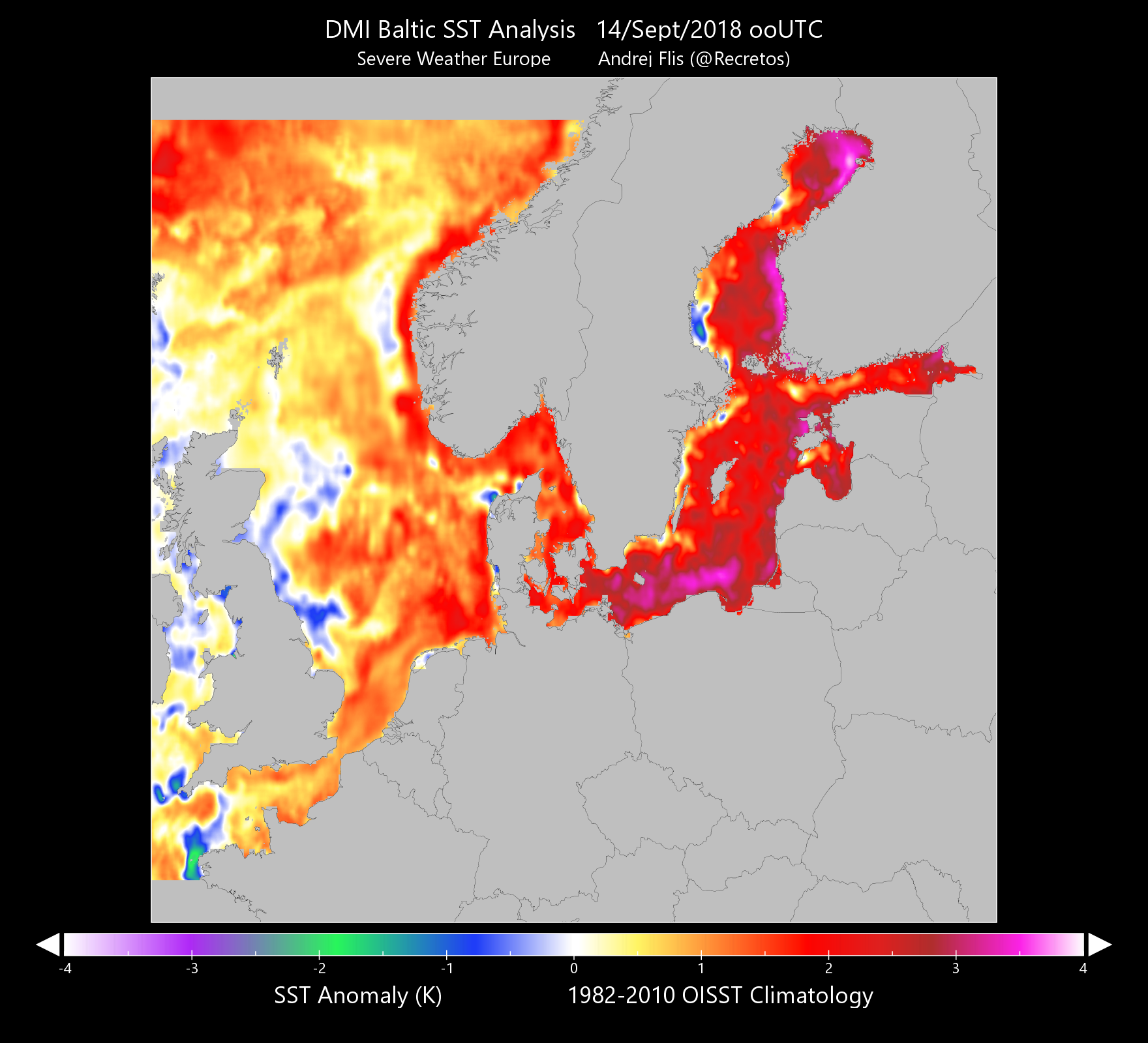 The Baltic Sea is up to 3-4 °C warmer than average right now ...
