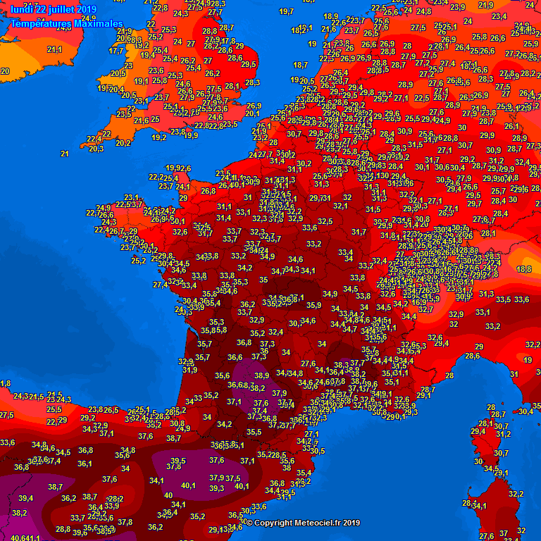 Map Of Portugal And Spain And France.Extreme Heat With Low 40s Across Spain Yesterday Very Hot Near 40