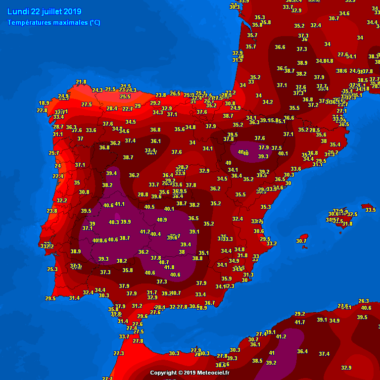 Map 24 Spain.Extreme Heat With Low 40s Across Spain Yesterday Very Hot Near 40