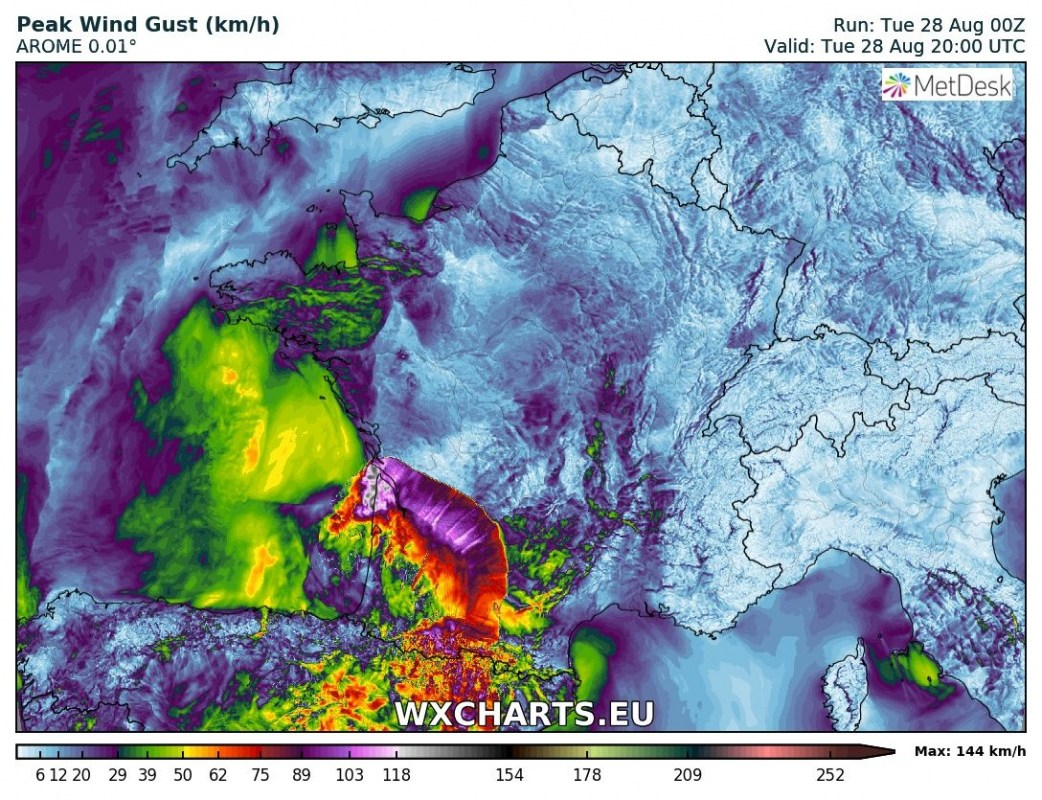 Map Of South West France And Northern Spain.Severe Thunderstorms Expected Over Northern Northeastern Spain