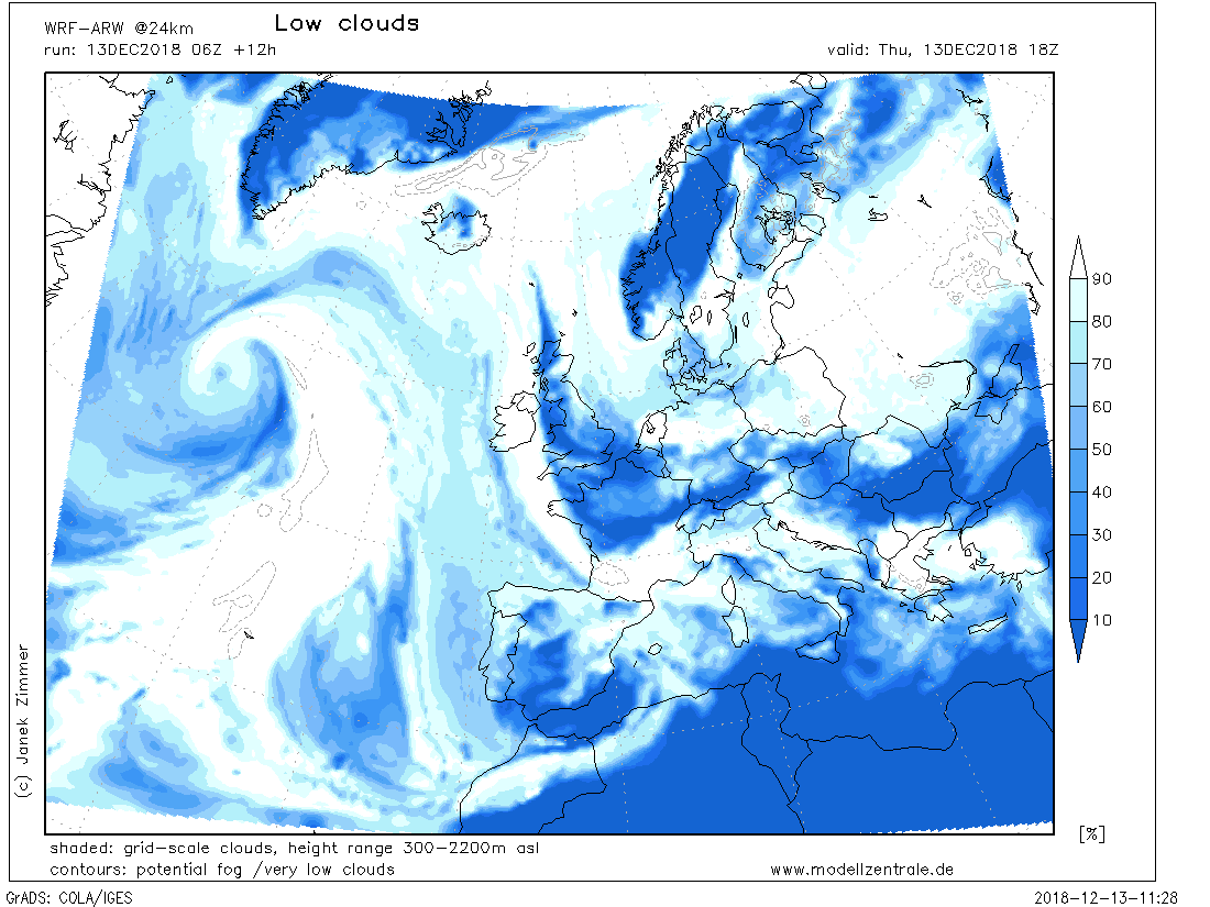 Geminid weather across Europe for the night December 13/14, 2018