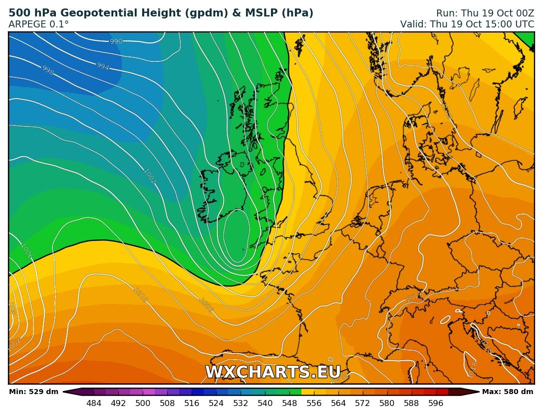 Windy day ahead for extreme southwestern UK, the English Channel and