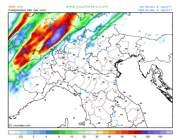 Intense rainfall in the Alps of NW Italy SE France and S