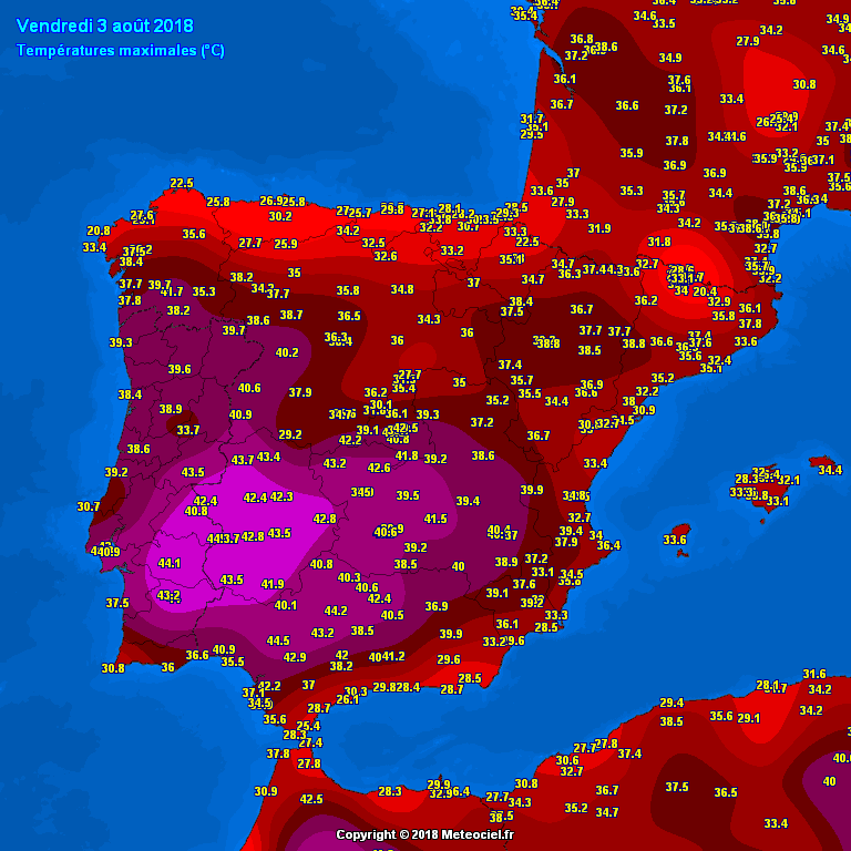 Map Of Central Spain.Up To 46 C Across Sw Spain And Central Portugal Yesterday Aug 3rd