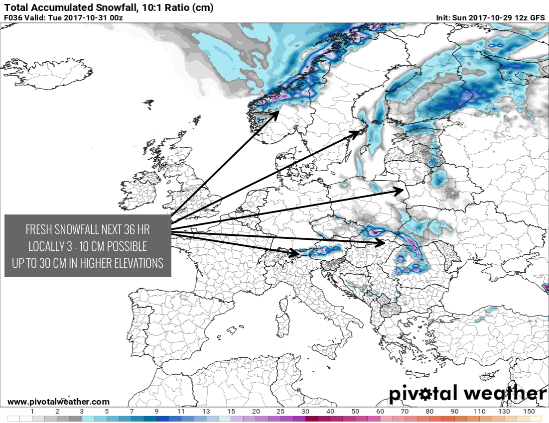 Snow Map Europe.Some Snow Across Parts Of Eastern Europe Until Tuesday Severe