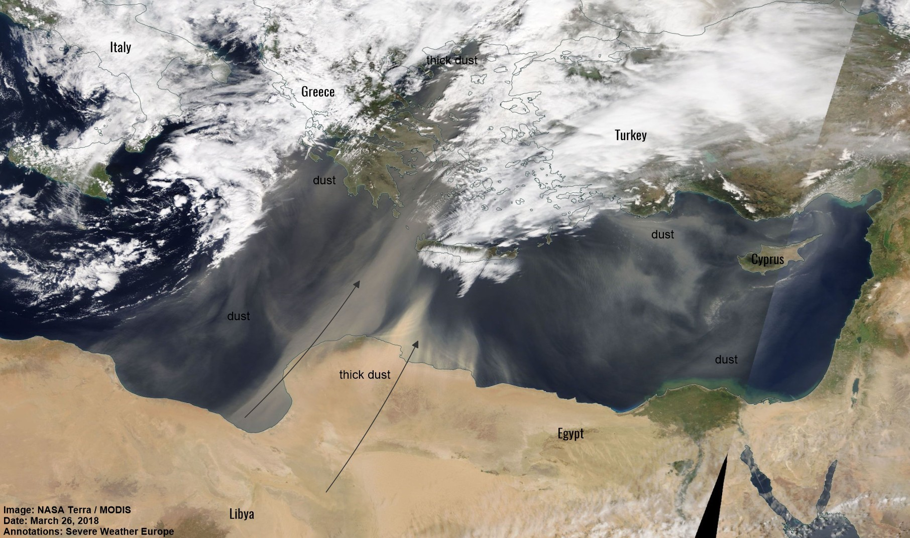 Saharan dust all over the eastern and central Mediterranean and