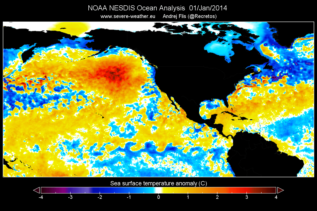 Ocean-heatwave-north-pacific-january-2014-temperature-anomaly