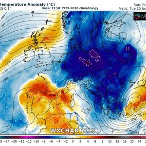 A new Arctic outbreak pushes across east-central Europe by early next week, Jan 14-16th