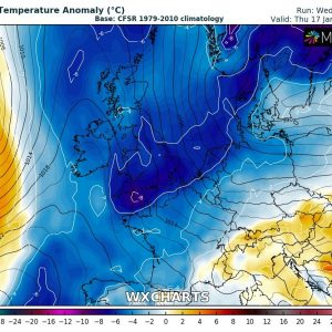 A strong cold outbreak across the UK, Ireland and Benelux tonight into tomorrow, Jan 17th