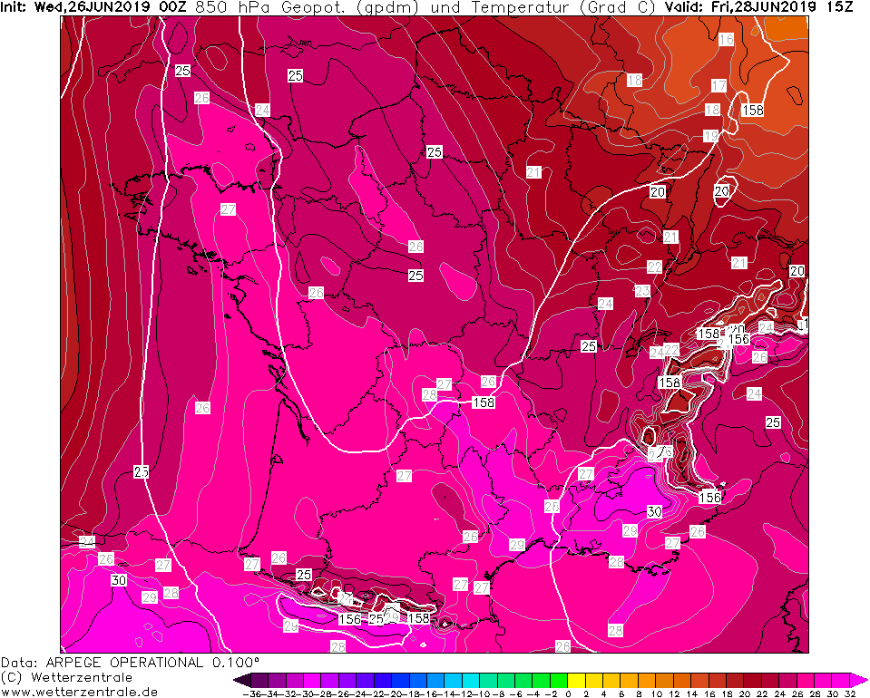 All-time heat records are likely to be exceeded across S France on Friday, June 28th 2019