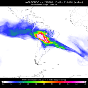 Amazon severe wildfires, sending smoke across the south hemisphere.