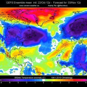*Pattern shift* Weather pattern shift underway, will bring cold air to USA and Europe next week! Snow cover across hemisphere expands rapidly!