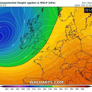A deep cyclone could develop a severe windstorm for Ireland on Thursday, Oct 17th