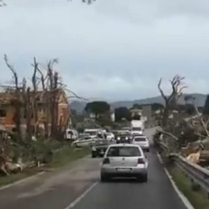 A significant damage from a strong tornado near Grosseto, Italy today, Nov 17th
