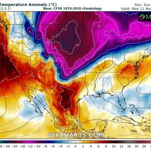 BRUTAL *Arctic outbreak* will spread across a large part of United States through Monday and Tuesday, Nov 11-12th
