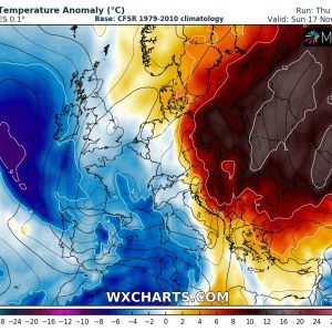 Unusually warm weather continues across eastern Europe and western Russia until early next week