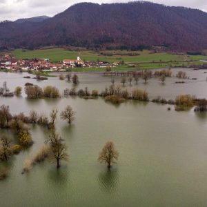 More than two weeks of heavy rainfall leads into significant flooding across the Planina Plain, Slovenia