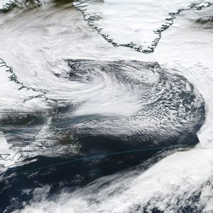 A large cyclone formed over the Labrador sea and will travel south of Greenland today, Nov 8th