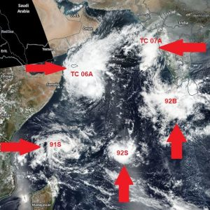 A rare occurrence in the tropics – five (5) tropical systems are simultaneously ongoing in the West Indian Ocean today!