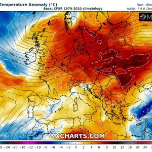 Cold outbreak across east-central Europe is washing out, replaced by warmer airmass across much of European continent again
