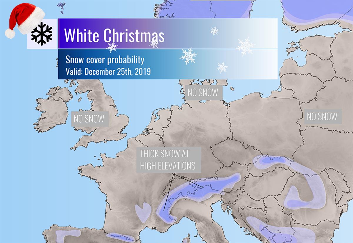 Christmas Snowfall Map 2020 Christmas day snow cover across Europe   probability of snow