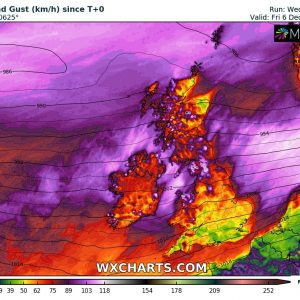 A fast-moving cyclone crosses the British Isles and delivers severe to extremely severe winds on Thursday, Dec 5th