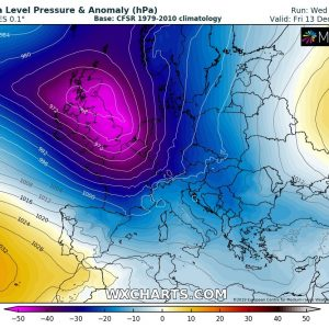 Another deep cyclone will develop over western Europe, delivering dangerous windstorm across parts of the UK and Ireland, Dec 12-13th