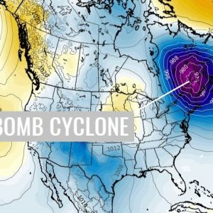 A powerful 'bombogenesis' cyclone develops over the northeast US and brings significant blizzard into eastern Canada this weekend
