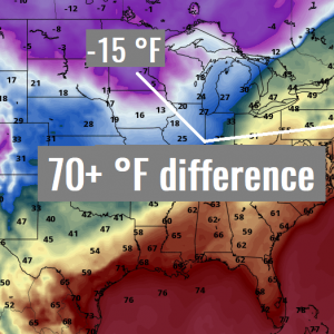 An impressive near 40 °C / 70 °F temperature contrast between the north and northeast United States on Tuesday, Dec 10th