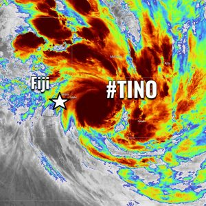 UPDATE: Tropical Cyclone #Tino upgraded to a Category 2 – explosive storms are brushing the Vanua Levu island and eastern Fiji archipelago with severe winds and dangerous flooding threat